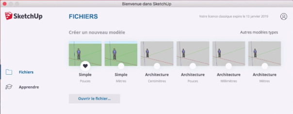 interface sketchup pro 2019 menuisier